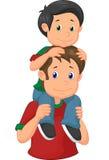 给他的儿子肩扛乘驾的动画片父亲 库存照片