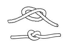 结的剪影从绳索的 免版税库存照片