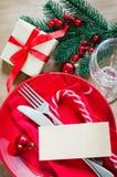 的圣诞前夕欢乐表设置 免版税库存图片