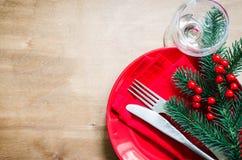 的圣诞前夕欢乐表设置 库存照片