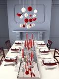 的圣诞前夕美妙地布置的桌 3d翻译 免版税库存图片