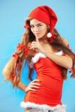 的圣诞老人夫人性感 库存照片
