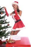 的圣诞老人女士性感 免版税库存照片