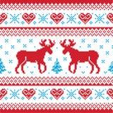 的圣诞节和冬天scandynavian被编织的模式 免版税库存图片