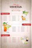 画的垂直的颜色鸡尾酒菜单设计 向量例证