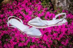 轻的夏天凉鞋女性本质上,给鞋子做广告 免版税库存图片