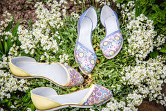 轻的夏天凉鞋女性本质上,给鞋子做广告 库存图片
