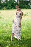 的女孩在自然的一件长的礼服 库存照片