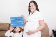 的女孩对负30个星期签字给她的妊妇 库存照片