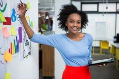 给介绍的女性图表设计师在创造性的办公室 免版税库存照片