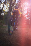的女性骑自行车的人循环在乡下的低角度观点 库存图片