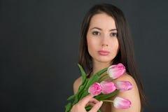 有花的妇女 免版税库存照片