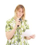 给介绍的妇女 免版税库存图片