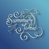 年的季节,夏时题字的传染媒介名字与 图库摄影