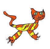 画的孩子-橙黄色猫 免版税图库摄影
