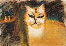 画的孩子-肥胖红色猫 免版税库存图片