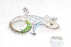 画的孩子-蜥蜴和蛋壳 免版税库存照片