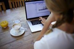 的少妇研究便携式计算机的播种的射击观点,当坐在现代咖啡馆酒吧内部时 库存图片