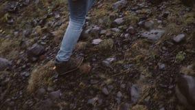 的少妇远足在岩石小山的后面观点 旅行女性探索单独的冰岛,走通过沼泽 股票录像