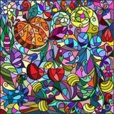 从的彩色玻璃窗花和果子,装饰品 图库摄影