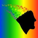 头的彩虹剪影,脑子和嵌齿轮齿轮导航Illu 免版税库存图片