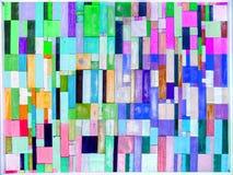 的彩虹和垂直多色木的片断和在bac的六片树荫 免版税库存照片