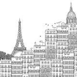 巴黎的手拉的例证 库存照片