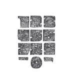 从0的手拉的大数字到9,与标点符号 为创造性的字法完善,巨型,坚实,策划用稀薄的鸟嘴 免版税库存图片