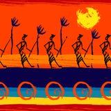 绘画的技巧无缝的大胆的非洲样式 免版税库存照片