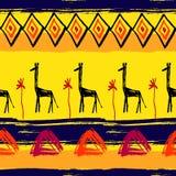 绘画的技巧无缝的非洲样式 免版税库存图片