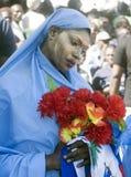 的抗议游行被绘的海地的妇女 免版税库存照片