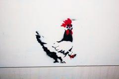 绘的斯洛文尼亚街道画鸡 免版税库存图片