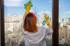 的无法认出的管家清洗全景窗口的后面观点与旧布和玻璃清洁剂,美丽如画的看法帮助  库存图片