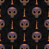 死的无缝的样式的Dia de Muertos动画片头骨华丽天 图库摄影