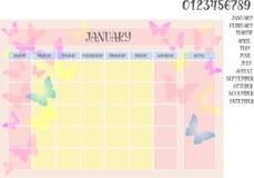 的月度计划者蝴蝶几个月背景和名字与数字的 免版税库存图片