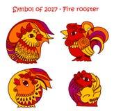 2017年的标志-红火雄鸡 免版税库存照片