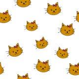画的棕色猫乱画与在无缝白色的backgroung的耳朵 免版税库存照片
