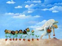 的植物种子天使孩子是出生 免版税库存照片