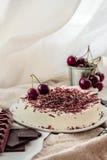 的樱桃和没有黑暗的巧克力烘烤乳酪蛋糕奶油甜点 库存图片