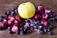 冻结的樱桃aplle和黑醋栗在冰 库存照片