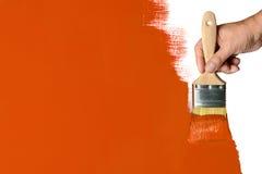 绘的橙色墙壁 库存照片