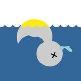 死的橡胶鸭子 儿童的玩具在水中 库存图片