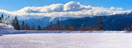 冻结的湖全景 图库摄影
