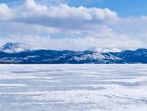 冻结的湖Laberge冬天风景育空加拿大 免版税图库摄影
