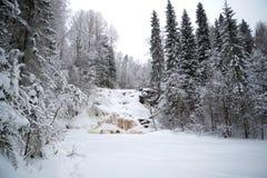 冻结的瀑布Yukankoski阴云密布1月天 冬天卡累利阿 免版税库存照片