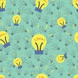 轻的灯标志象 想法标志 无缝的纹理 免版税库存图片