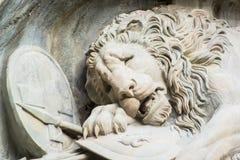 死的狮子纪念碑在卢赛恩 图库摄影