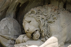 死的狮子雕象在卢赛恩 库存图片