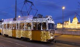 轻的电车在布达佩斯 库存照片