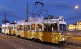 轻的电车在布达佩斯 免版税库存照片